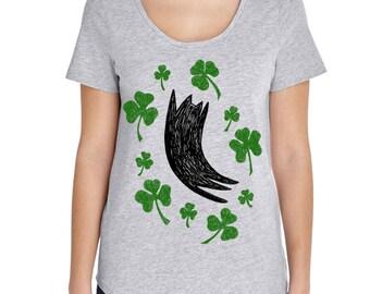 Womens Saint Patrick's Day Shirt,  Funny Cat Shirt, Shamrock Shirt, Saint Patricks Day, St Patricks Day Green Tshirt, Black Cat Lover Shirt