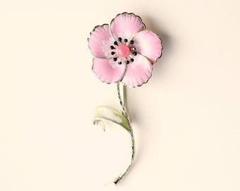 Large flower pin, Vintage flower stem brooch, Pink painted floral pin, Big flower brooch, Pink flower pin, 1950s 60's jewelry, Gift for her