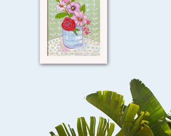 Floral Painting Flower Artwork, One of a Kind 11X14, Canvas, Impressionist