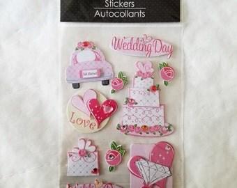 Wedding Stickers 3-D Dimensional  10 Pieces w/ Rhinestones