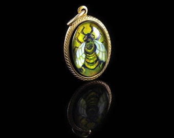 The Honey Bee -- Handmade Brass Pendant with Original Artwork