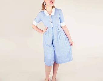 Vintage Retro Blue Gingham Split Skirt Dress with White Collar & Cuffs M petite