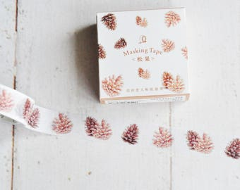 Natural Pinecones Washi Tape - Travelers Notebook - Journal - Midori - Scrapbooking - Paper Crafting - Nature Journal - Junk Journal