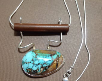 Turquoise pendant handmade Royston natural Turquoise double strand necklace-long necklace-pendant