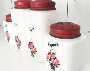 Tipp Flower Basket Milk Glass Shaker Set