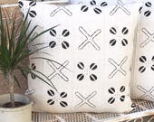 African Mudcloth Pillow with X and flower Design  Traditional Tribal  Mali Mudcloth  Boho / Modern / Farmhouse