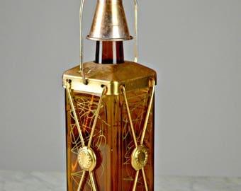 Vintage Decanter, Vintage Whisky Bottle, Copper Trim & Cup, Musical Decanter, Kitsch Barware, Retro Barware, Gift for Dad, Gift For Him