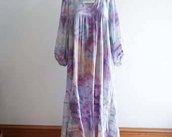 Boho cotton tie dye ethereal FESTIVAL 60s / 70s angel sleeve hippie dresss OS sz. Large