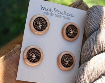 4 Tree Buttons in Cherry Wood- Wooden Buttons- Natural Eco Buttons for Crafting, Sewing, Knitting