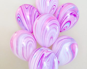 Purple and Pink Marble Balloons, Unicorn Party, Pink Purple Birthday Party, Marble Balloons, Purple Party Balloons, Purple Latex Pink Purple