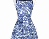 Womens Vintage Apron in Royal Blue Damask with Pocket Retro 50s Kitchen Gift for Her with Personalized Monogram Option
