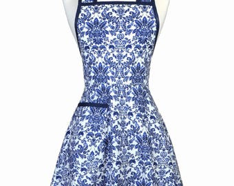 50s Style Retro Apron - Royal Blue Damask Old Fashioned Womans Vintage Inspired Cute Full Kitchen Apron with Pockets (DP)