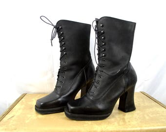 Vintage 90s Platform Heel Grunge Goth Punk Club Kid Boots Lace Up Shoes - Electra - Made in England