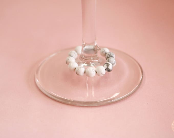 Howlite White Marble Beaded Wineglass Marker/ Wineglass Charm.