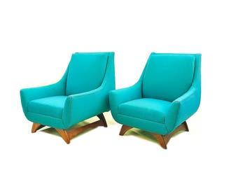 Vintage Mid Century Lounge Chairs In Teal Tweed