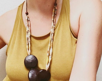 Yellow Paper Bead Statement Necklace