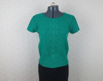 1980s Short Sleeve Sweater - Green Cable Knit - Bust 32