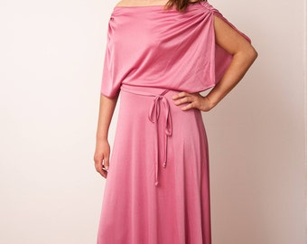 Vintage Pink Disco Dress - Vintage Maxi Dress - Vtg Dancing Queen Party Dress - Soft Pink Grecian Style - Size Small Medium - Gift For Her
