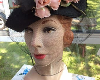 Vintage 1930s 1940s Hat Petite Black Tricorn Shape W/Veiling Dusty Pink Roses Art Deco Style Label Is: Gage Brothers & Co New York Chicago
