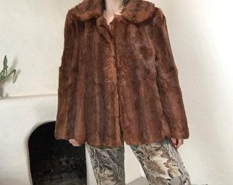 Classic Fur Coat | peter pan collar button up 50s vintage mid century womens antique mink large L 10 12 retro