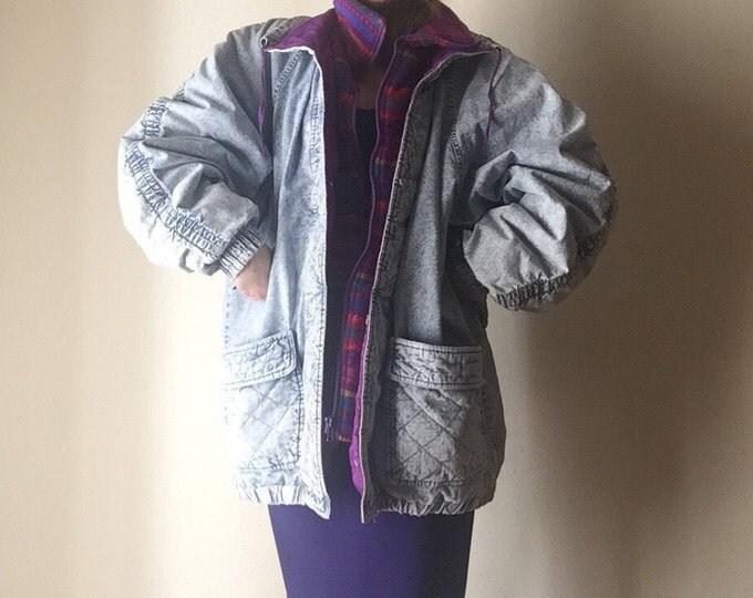 Acid Wash Jacket | 20W plus size UNISEX oversized puffy women mens vintage 80s cotton warm winter coat hipster kitsch club kid 90s plus size