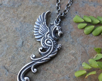 Black Fire Dragon Necklace- Oxidized sterling silver dragon charm and rolo chain- Strength, Courage, Power- Women + Men - free shipping USA