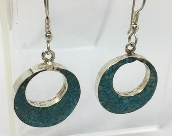 Sterling Silver and Turquoise Chip Inlay Round Drop Earrings Fish Hook Circle