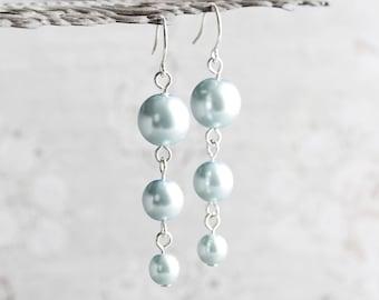 Pale Blue Crystal Pearl Dangle Earrings on Silver Plated Hooks