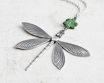 Large Antiqued Silver Dragonfly Pendant Necklace with Patina Flower Charm
