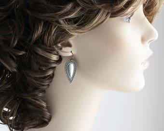 Antiqued Silver Plated Embossed Drop Earrings on Gunmetal Hooks