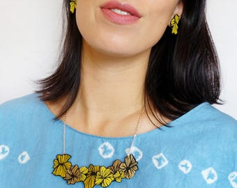 Hana Floral Japanese Bursting Bloom Lines Abstract Statement Bib Necklace Upcycled Painted Printed Necklace 14K Gold Plated Colourful
