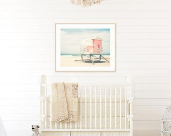 Beach Nursery, Pastel Pink, Lifeguard Tower, Beach Photography, Beach Nursery Decor, Beach Print, Beach Wall Art, Beach Living