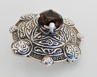 Scottish Silver & Cairngorm Agate Celtic Shield Brooch.  Sterling Silver Topaz Smoky Quartz Tartan Sash Pin By Ward Bros Edinburgh 1959.