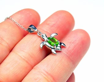 Peridot Necklace SIlver SeaTurtle Necklace, August Birthstone Gemstone Necklace, Tortoise Necklace, Personalized Necklace Sea Turtle Jewelry