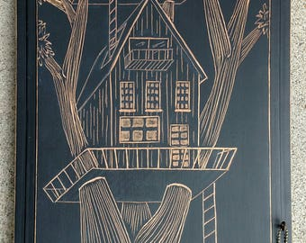 Treehouse, Treehouse art, Treehouse painting, tree etching, tree painting, tree wall art, Tree Art, tree wood carving