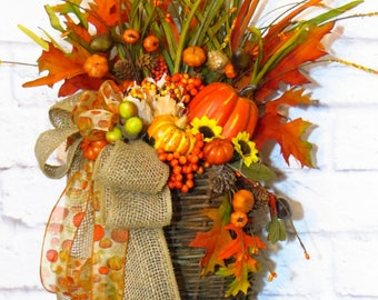 Fall Door Basket, Fall Decor, Harvest Basket, Thanksgiving Wreath, Thanksgiving Decor, Fall  Basket,  Autumn Decor