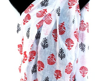 Block print Personalized Gift Block Print Scarf Hand Blocked indian cotton scarf Floral Scarf Red White Scarf Gifts for friends KavitaKriti