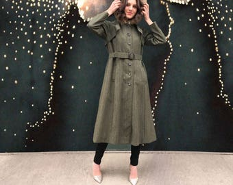 Vintage 1960's Olive Green Herringbone Trench With Fur Lined Hood