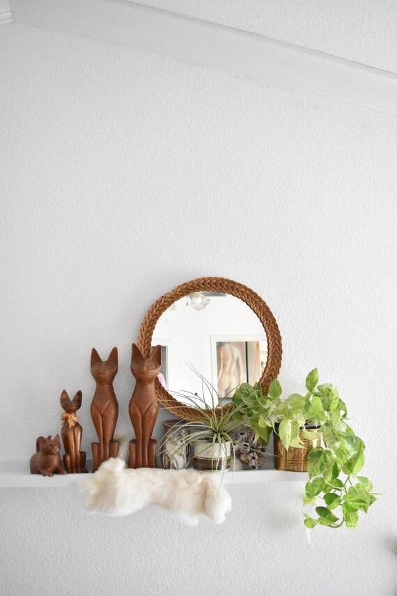 mid century round circle woven wicker wood wall hanging mirror / boho bohemian