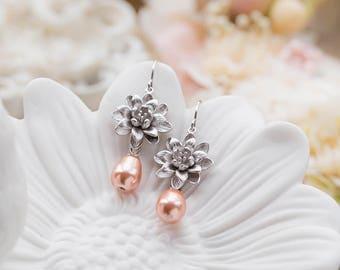 Silver Lotus Flower Peach Teardrop Pearl Earrings, Silver Bridal Earrings, Peach Wedding Jewelry, Bridesmaid Gift, Bridesmaid Earrings