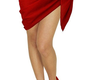 La Leela Soft 100% Cotton Solid Plain WOMEN Beach Pareo Sarong 72X21 Inch Red - 119638