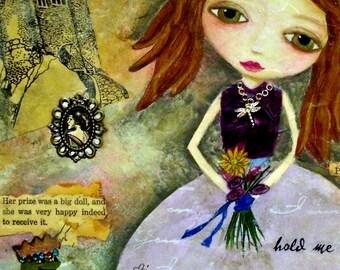 CONTENTMENT, ACEO, Princess, Big Eyed Girl, Girl Art, Frog, Soulful Art, Mini Art Print, Collectible Art, Mixed Media, Art Print, Art Card