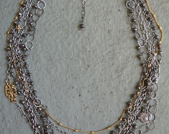 Multi Strand Sterling Silver Chain Necklace w Gold, Pyrite, & Charms