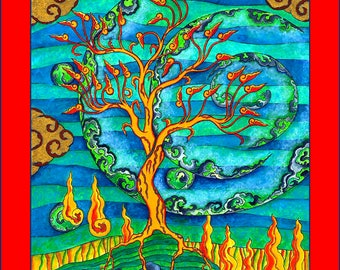 Land of the Phoenix - 8 x 10 Archival Giclee Print, Mystical Phoenix Tree Reproduction.