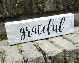 Thankful Block Sign Home Decor, Distresed, Gray