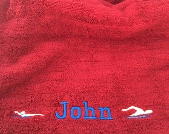 Embroidered Beach Towels, Swimming, Personalized Kids Beach Towels, Towels, Pool Towel, Sailboat, Scuba Diving, Surfer, Canoe