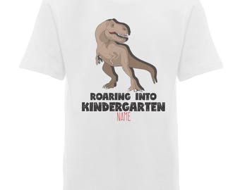 Dinosaur Back to School Shirt, Roaring into Kindergarten (choose your grade), Funny T-Rex Shirt, Personalized School Shirt for Boys or Girls