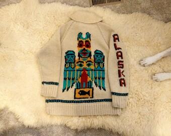 vintage 70s 1970s 1970's handmade handcrafted knit shawl collar Cowichan Lebowski cardigan sweater totem Native Indian Alaska M L hippie