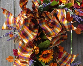 Fall Wreath Bow - Bow for Fall / Autumn Wreath - Fall Wired Bow with Purple Accents, Rich Colorful Designer Fall Wreath Bow, Lantern, Wreath
