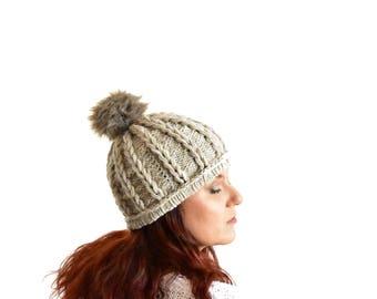 Knit pom pom beanie braided beanie fur pompom hat, winter beanie, beige ski beanie tan color winter hat pom toque for woman handknit beanie